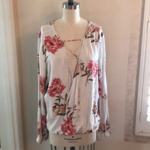 ONeil Long Sleeve Floral Blouse Lace Up Sz XL